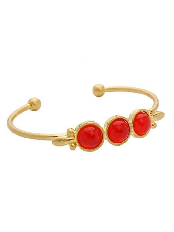 Faux Gem Cuff Bracelet - Or