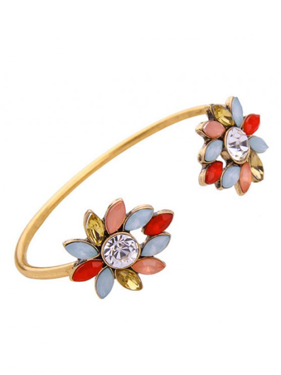 Rhinestone Flower Cuff Bracelet - GOLDEN  Mobile