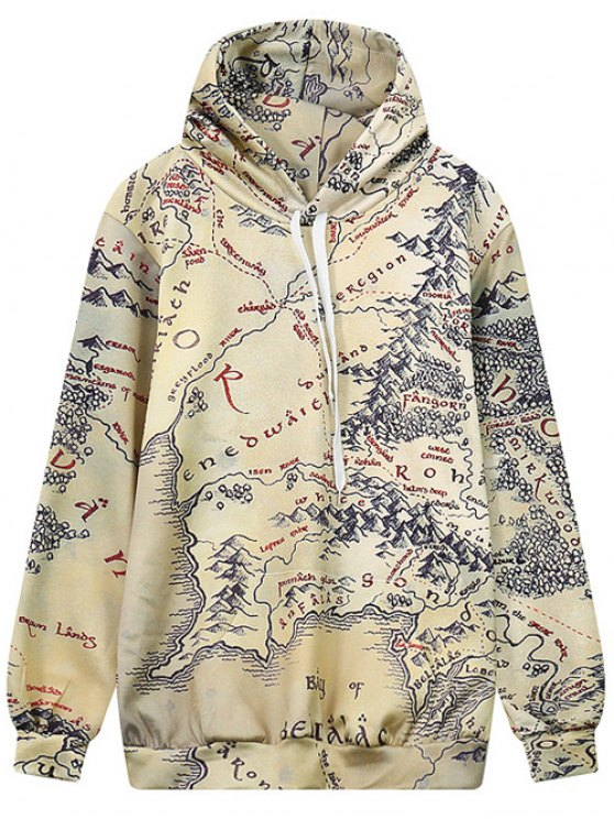 unique Drawstring Front Pocket Map Print Hoodie - MULTI M