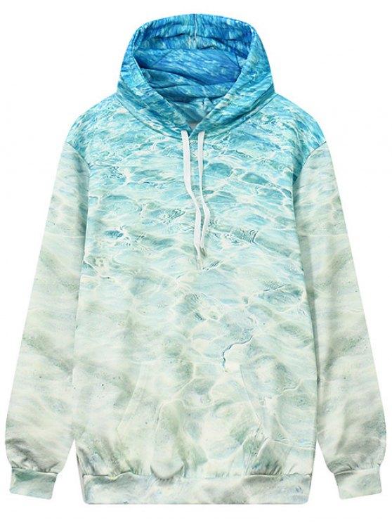 sale Wave Pattern Front Pocket Outerwear Hoodie - OCEAN BLUE L
