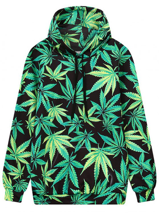lady Leaf Print Front Pocket Outerwear Hoodie - BLACK AND GREEN M