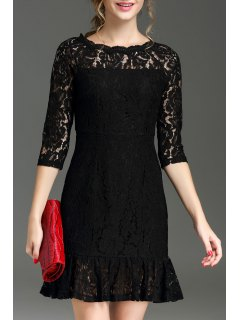 Hollow Out Ruffle Hem Lace Dress - Black S