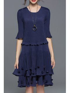 Tiered Popover Dress - Purplish Blue