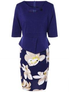 Half Floral Manches Imprimer épissage Robe Fourreau - Bleu Violet 5xl