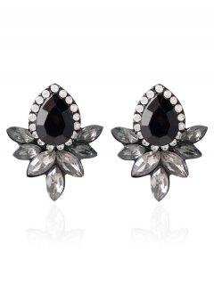 Water Drop Rhinestone Artificial Crystal Earrings - Black