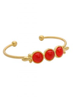 Faux Gem Cuff Bracelet - Golden