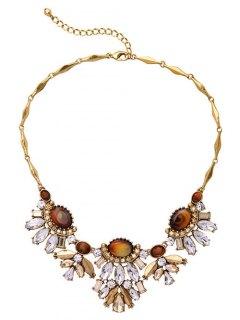Fake Gem Flower Necklace - Golden