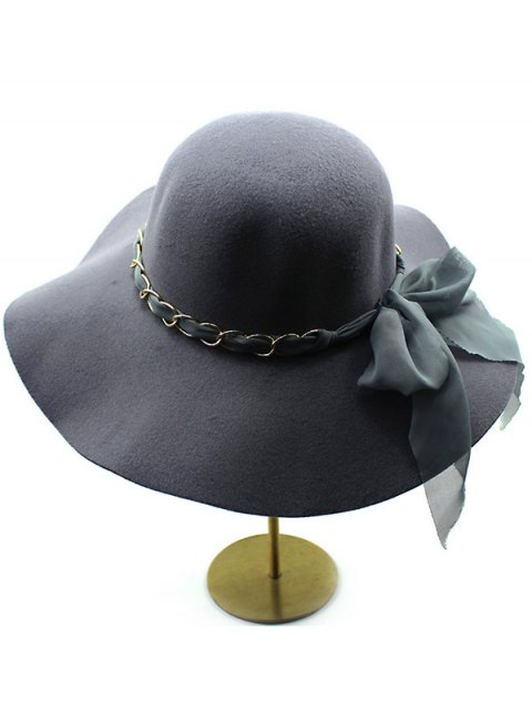outfits Bowknot Floppy Wool Fedora Hat - DEEP GRAY  Mobile
