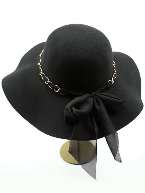 chic Bowknot Floppy Wool Fedora Hat - BLACK  Mobile