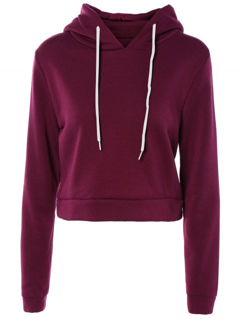 shops Cropped Pure Color Long Sleeve Hoodie - PURPLE S Mobile
