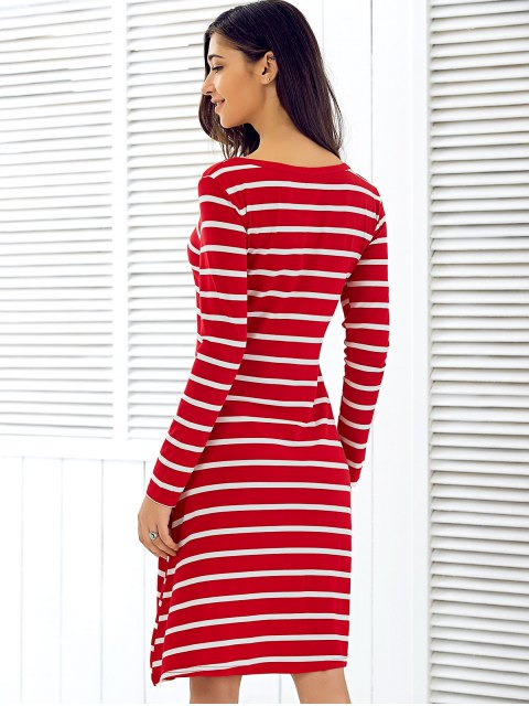 ladies Scoop Neck Long Sleeve Striped Dress - RED S Mobile