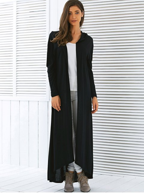 womens Hooded Maxi Long Duster Cardigan - BLACK S Mobile