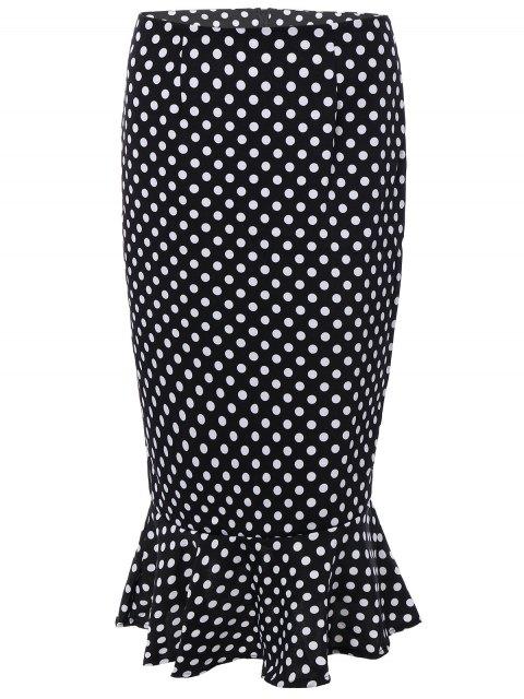 latest High Waisted Polka Dot Mermaid Skirt - BLACK M Mobile