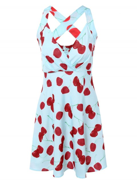 outfit Vintage Plunging Neck Criss Back Cherry Print Dress - LIGHT BLUE M Mobile