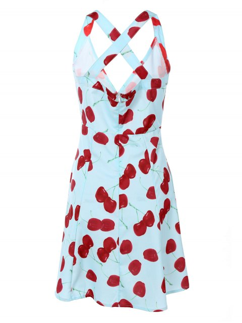 outfits Vintage Plunging Neck Criss Back Cherry Print Dress - LIGHT BLUE S Mobile