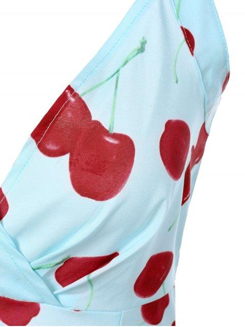 hot Vintage Plunging Neck Criss Back Cherry Print Dress - LIGHT BLUE L Mobile