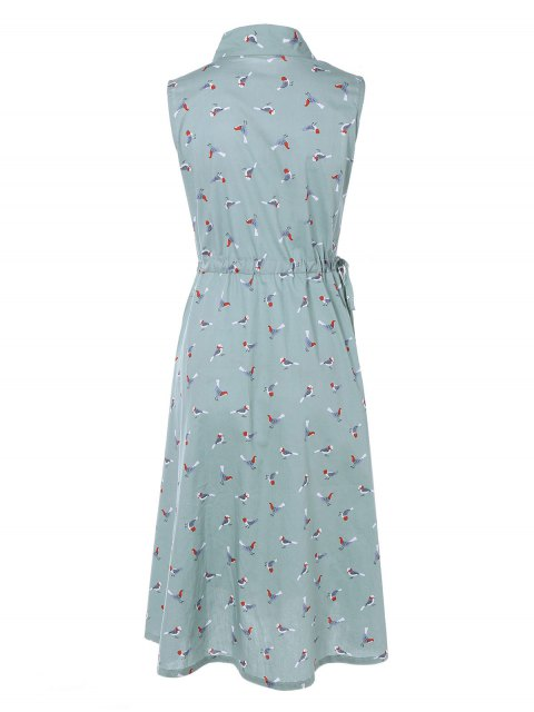 women Drawstring Sleeveless Bird Print Shirt Dress - LIGHT BLUE XL Mobile