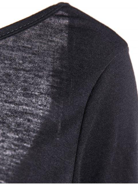 fancy Back Low Cut Long Sleeve High Slit Dress - BLACK M Mobile