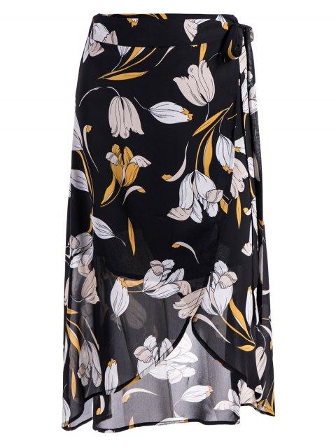 fashion Self-Tie Front Slit Floral Skirt - FLORAL L Mobile