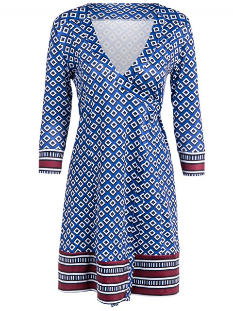 lady V Neck Long Sleeve Printed Wrap Dress - BLUE ONE SIZE Mobile