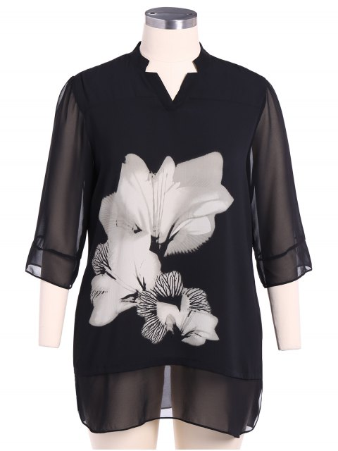 lady Stand Neck 3/4 Sleeve Floral Dress - WHITE AND BLACK 2XL Mobile