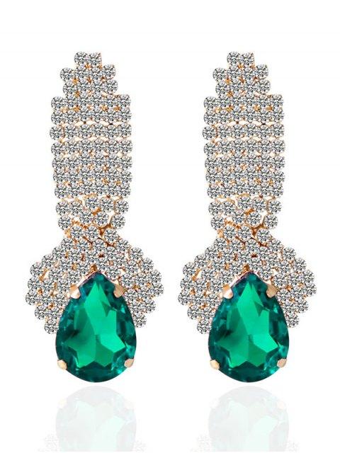 best Rhinestoned Faux Crystal Drop Earrings - GREEN  Mobile