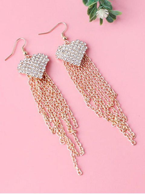 outfits Rhinestone Heart Tassel Chains Earrings - GOLDEN  Mobile
