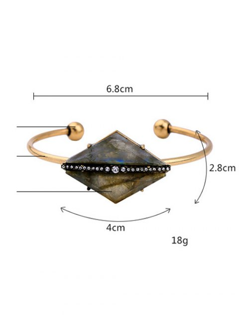 new Rhombus Stone Cuff Bracelet - GOLDEN  Mobile