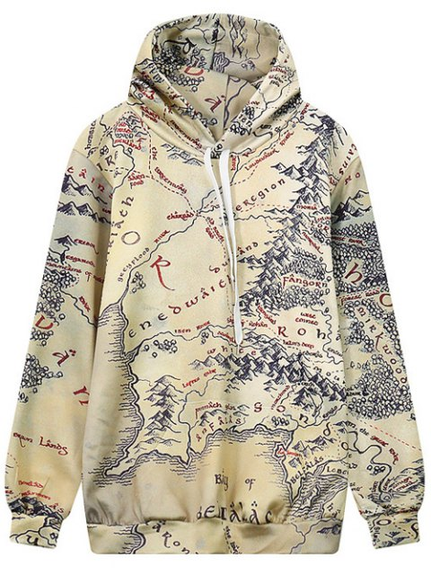 fancy Drawstring Front Pocket Map Print Hoodie - MULTI L Mobile
