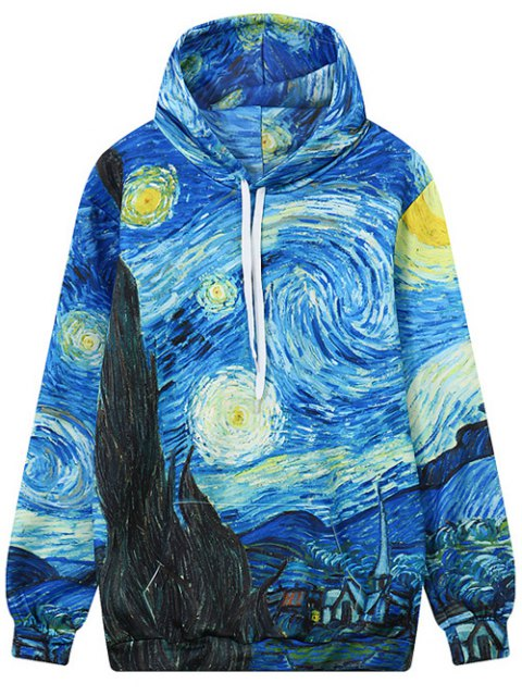 best Abstract Print Front Pocket Outerwear Hoodie - COLORMIX L Mobile
