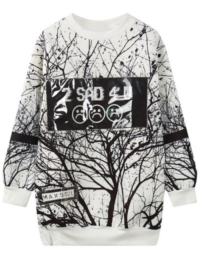 Tree Branch Print Pullover Sweatshirt - White