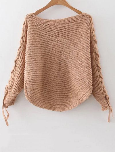 Batwing Sleeve Braided Sweater - Khaki