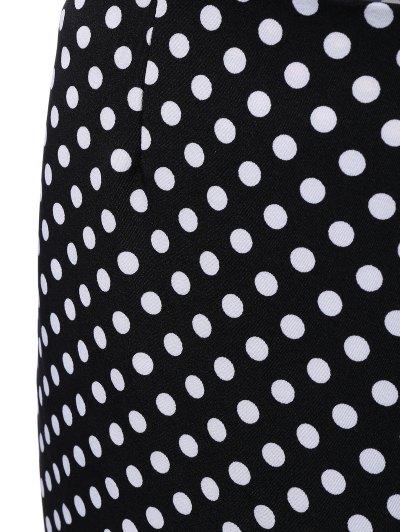 High Waisted Polka Dot Mermaid Skirt - BLACK XL Mobile