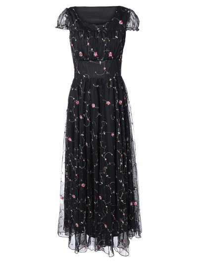 Scoop Neck Floral Embroidered Gauze Dress - BLACK XL Mobile