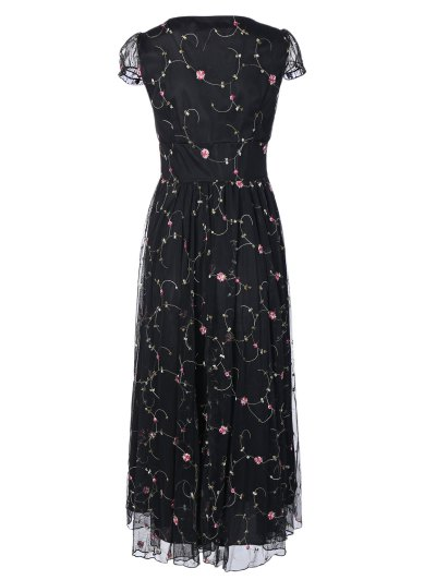 Scoop Neck Floral Embroidered Gauze Dress - BLACK L Mobile