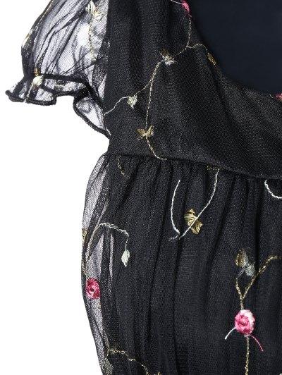 Scoop Neck Floral Embroidered Gauze Dress - BLACK M Mobile