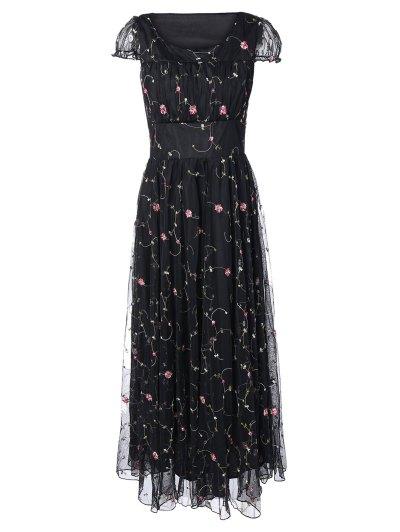 Con Cuello Redondo Vestido Floral De La Gasa Bordada - Negro