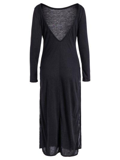 Back Low Cut Long Sleeve High Slit Dress - BLACK M Mobile