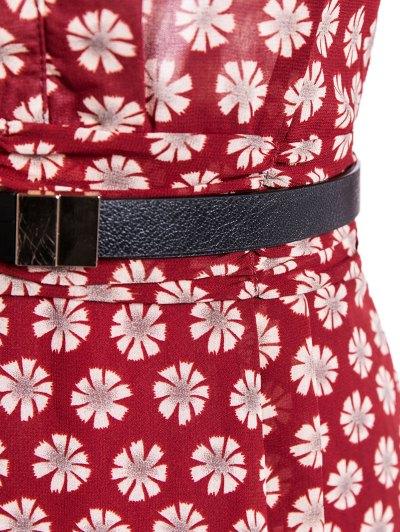 V Neck Daisy Print Chiffon Pencil Dress - WINE RED XL Mobile