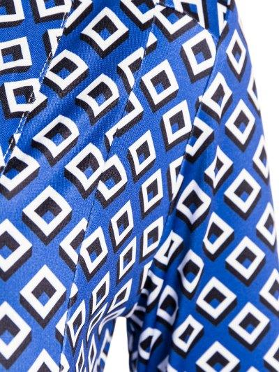 V Neck Long Sleeve Printed Wrap Dress - BLUE ONE SIZE Mobile