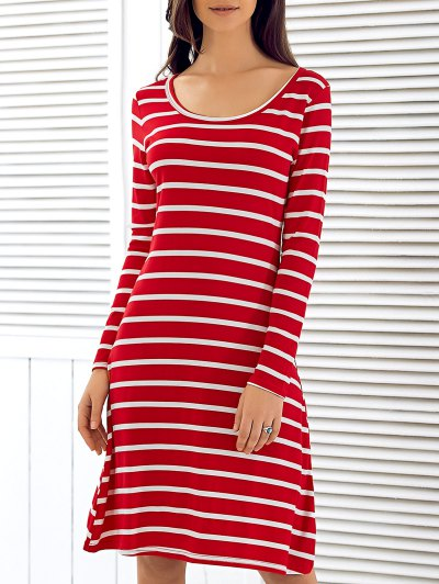 Scoop Neck Long Sleeve Striped Dress - RED S Mobile