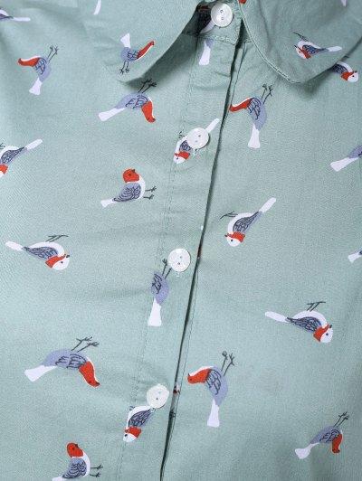 Drawstring Sleeveless Bird Print Shirt Dress - LIGHT BLUE XL Mobile