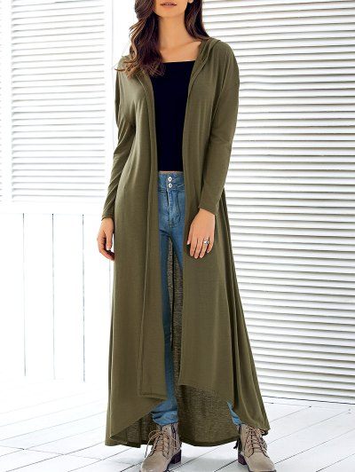 Hooded Maxi Cardigan - ARMY GREEN S Mobile