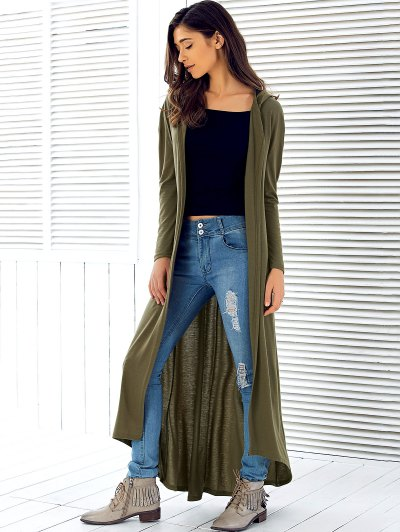 Hooded Maxi Cardigan - ARMY GREEN XL Mobile