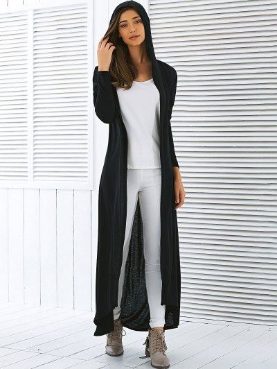 Hooded Maxi Cardigan - BLACK M Mobile