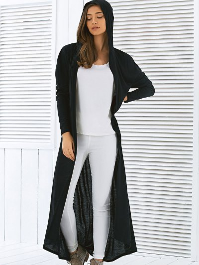 Hooded Maxi Cardigan - BLACK L Mobile