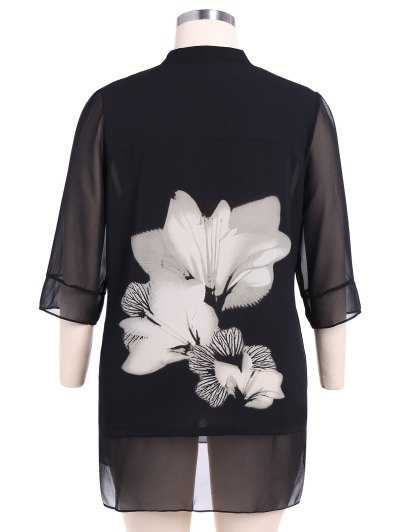 Stand Neck 3/4 Sleeve Floral Dress - WHITE AND BLACK 2XL Mobile