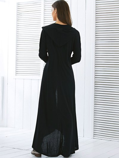 Hooded Maxi Cardigan - BLACK M Mobile