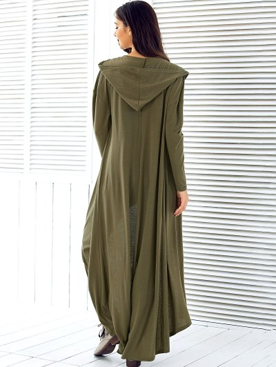 Hooded Maxi Cardigan - ARMY GREEN M Mobile