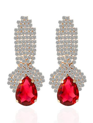 Rhinestoned Faux Crystal Drop Earrings - Red